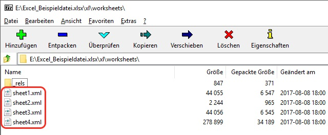 Screenshot Excel 2010 Sheets XML